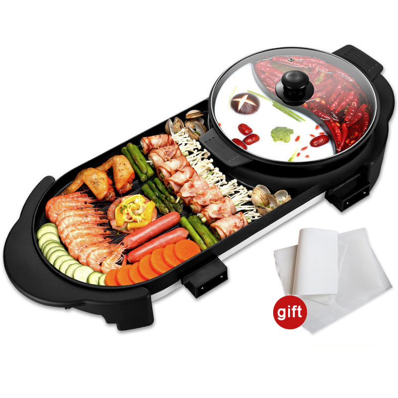 Electric Heating BBQ Household Grill Disconnected Two Flavor Hot Pot Smokeless Barbecue Machine Electric Oven Cabob Machine