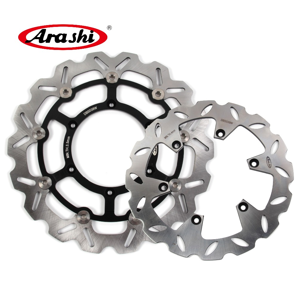 Arashi 1 Set DRZ 400 SM CNC Front & Rear Brake Disc Brake  Rotors For Suzuki DRZ400SM 2005 2006 2007 2008 2009 DRZ-400-SM pair steel front brake rotors disc braking disks for moto guzzi norge t gtl 850 2007 breva 1100 2005 2007 stelvio 1200 2008 2009
