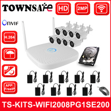 TOWNSAFE new TS-KITS-WIFI2008PG1SE200 8CH HD 1080P 2MP Wireless NVR Kits WIFI IP Camera CCTV Security Kit Onvif IOS Android P2P