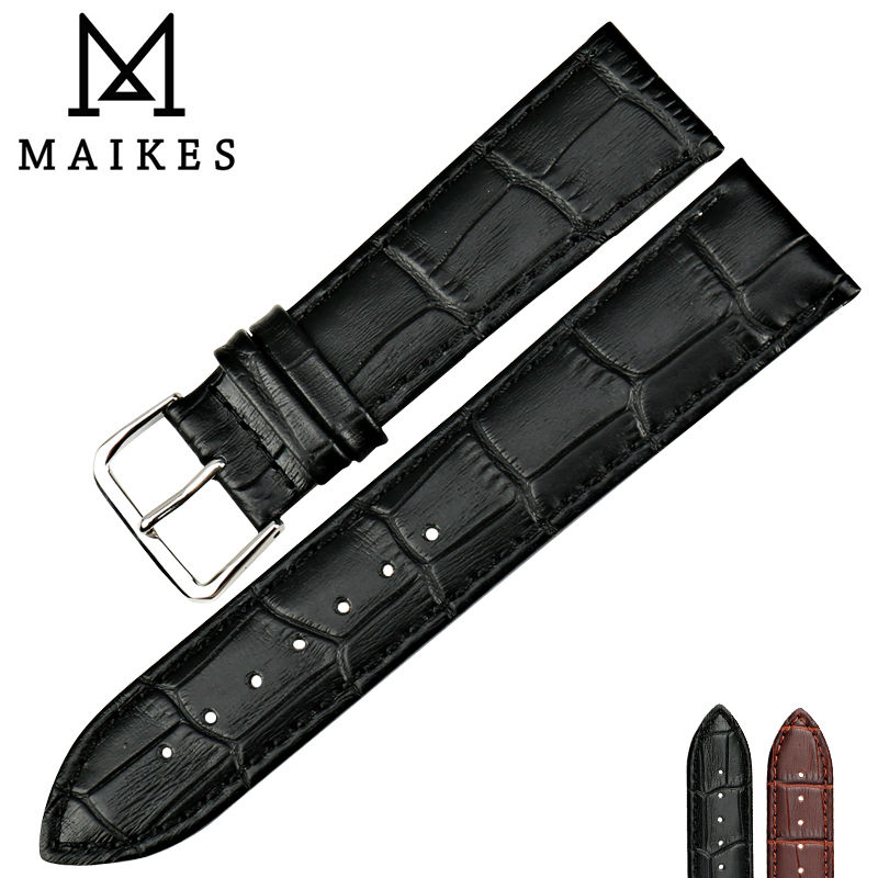 Maikes High Quality Genuine Leather Watch Strap Black Watchband 16 18 19 20 22mm Thin Watch Band Watch Accessories high quality genuine leather watchband 22mm brown black wrist watch band strap wristwatches stitched belt folding clasp men