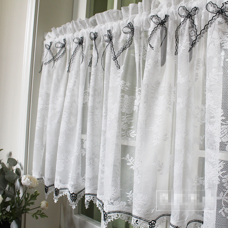 1 pièces pastorale dentelle nœud-noeud fenêtre porte rideau Tiers cuisine rideau 1 Tiers M563