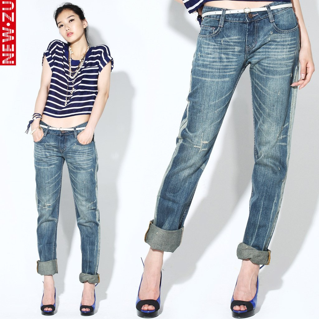 Free Shipping Woman Casual Jeans Pants Mid WaistZipper Fly