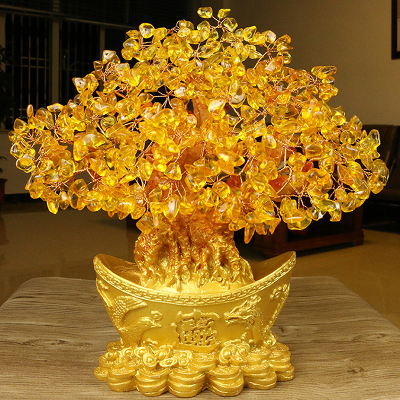 Money Tree Ornament Fortune Tree Ornament Yuanbao Tree Gold Ingot Tree Ornament Livingroom Delicate Crystal Beautiful