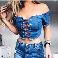 2017 T Shirts Women Summer Tarajuku Denim Jeans Cold Off The Shoulder T Shirts Tshirt Crop