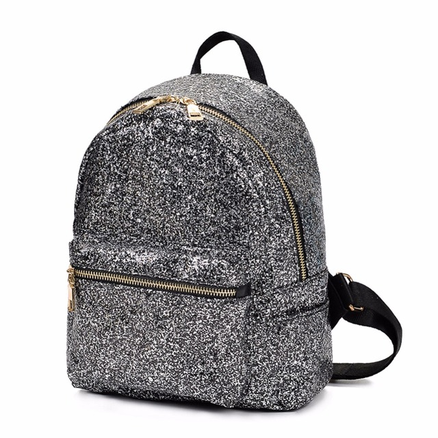 84dd6609d5 US $11.2 41% OFF|Fashion Sequins Women Leather Shiny Backpack Bling Female  Mochila Girls Glitter School Bags Shine Small Shoulder Bookbag Totes-in ...