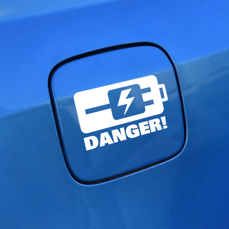 DANGER CHARGING warning car sticker for electric automobile,reflective car fuel tank cap decor warning stickers vinyl