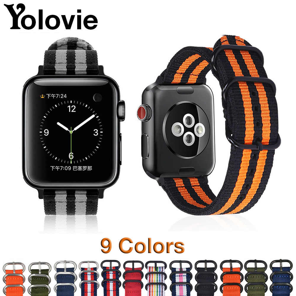 Yolovie Watchband For Apple Watch Band 42mm 44mm Nylon NATO Sport Strap 38mm 40mm iWatch Bands Accessories Bracelet Series 4 321