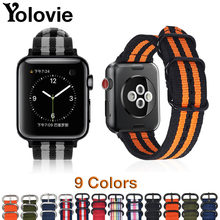 Yolovie Watchband For Apple Watch Band 42mm 44mm Nylon NATO Sport Strap 38mm 40mm iWatch Bands Accessories Bracelet Series 4 321(China)