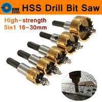 HSS Drill Bit 5pcs 16 30mm Carbide Hole Saw Set 5pc Set High Speed Steel Cutter