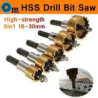 HSS Drill Bit 5pcs 16 30mm Carbide Hole Saw Set 5pc Set High Speed Steel Cutter