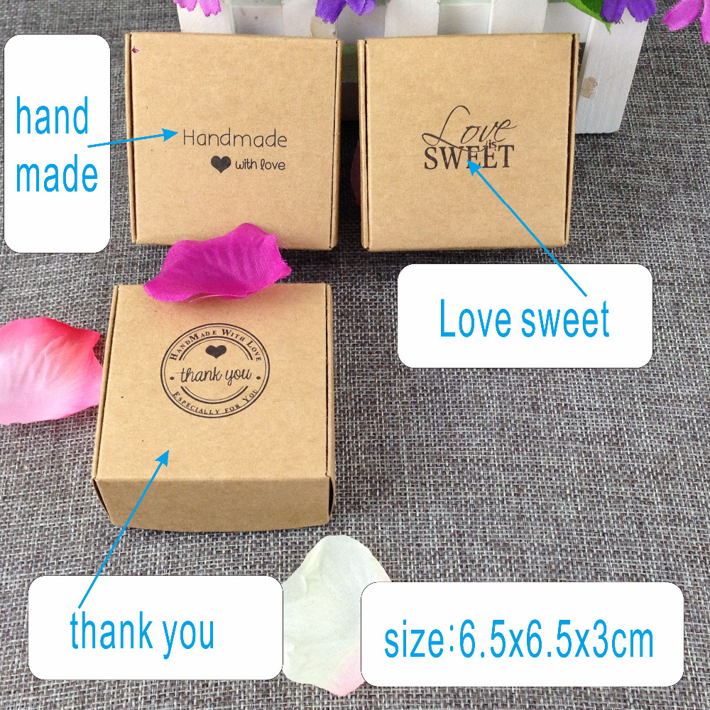 100PCS Kraft  Brown Gift Box Blank Gift  Paper Packing Boxes For Jewelry/crafts/handmade Love Sweet Thank You Box