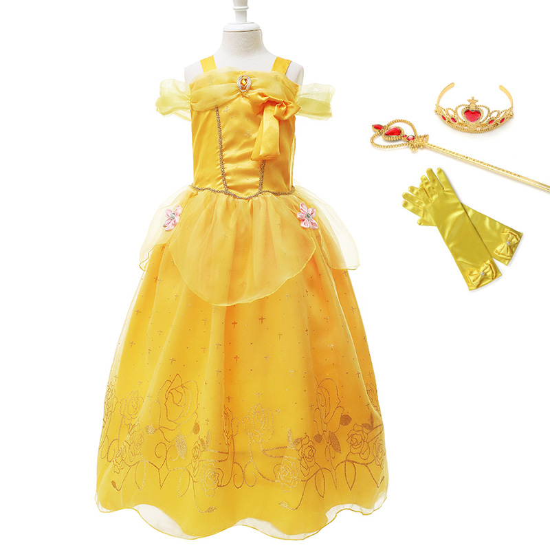 Girls Belle Princess Dress up Cosplay Costume Kids Sequined Sleeveless Gown Child Party Prom Beauty and the beast Costumes Fancy in Dresses from Mother Kids