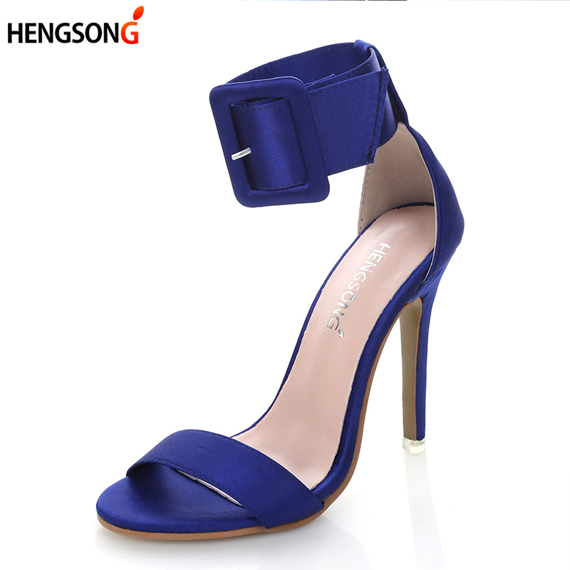 Hot Buckle Pumps Women Sandals Nude Silk 11.5cm High Heels Ankle Strap Summer Dress Shoes Woman Open Toe Sandals Plus size 34-43 ribetrini women hot sale cow leather low heel wedges summer casual shoes woman ankle strap open toe platform sandals size 34 39