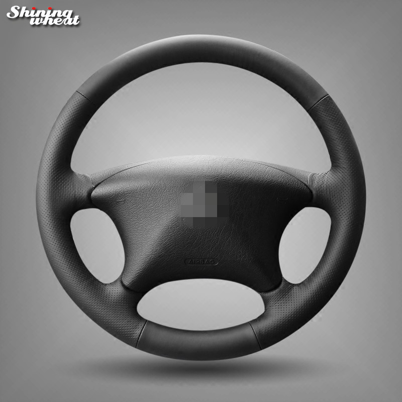 Shining wheat Black Genuine Leather Car Steering Wheel Cover for Citroen Picasso C5 2004 2005