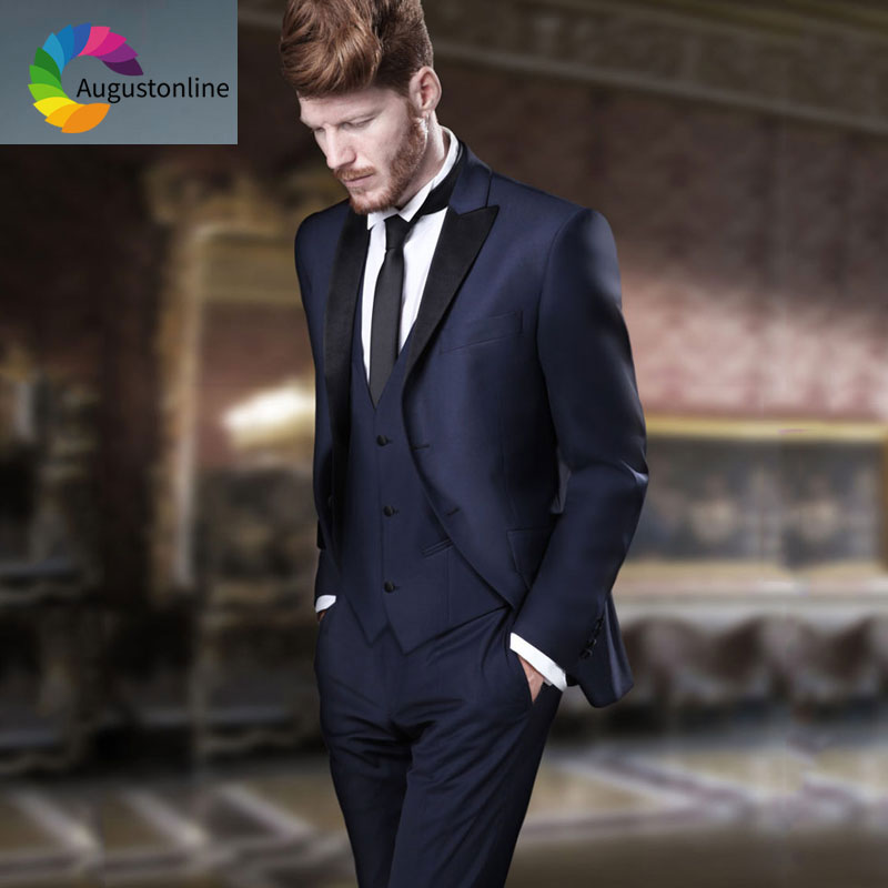 Italian Navy Blue Men Suits For Wedding Black Peaked Lapel Slim Fit Groom Tuxedo Terno Masculino 3Piece Best Man Blazers Costume
