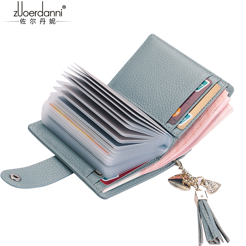 Zuoerdanni Mini Multifunction 24 Slots Card Holder Women Short Genuine Leather  Wallets  Natural Leather  Ladies Purse Fashion