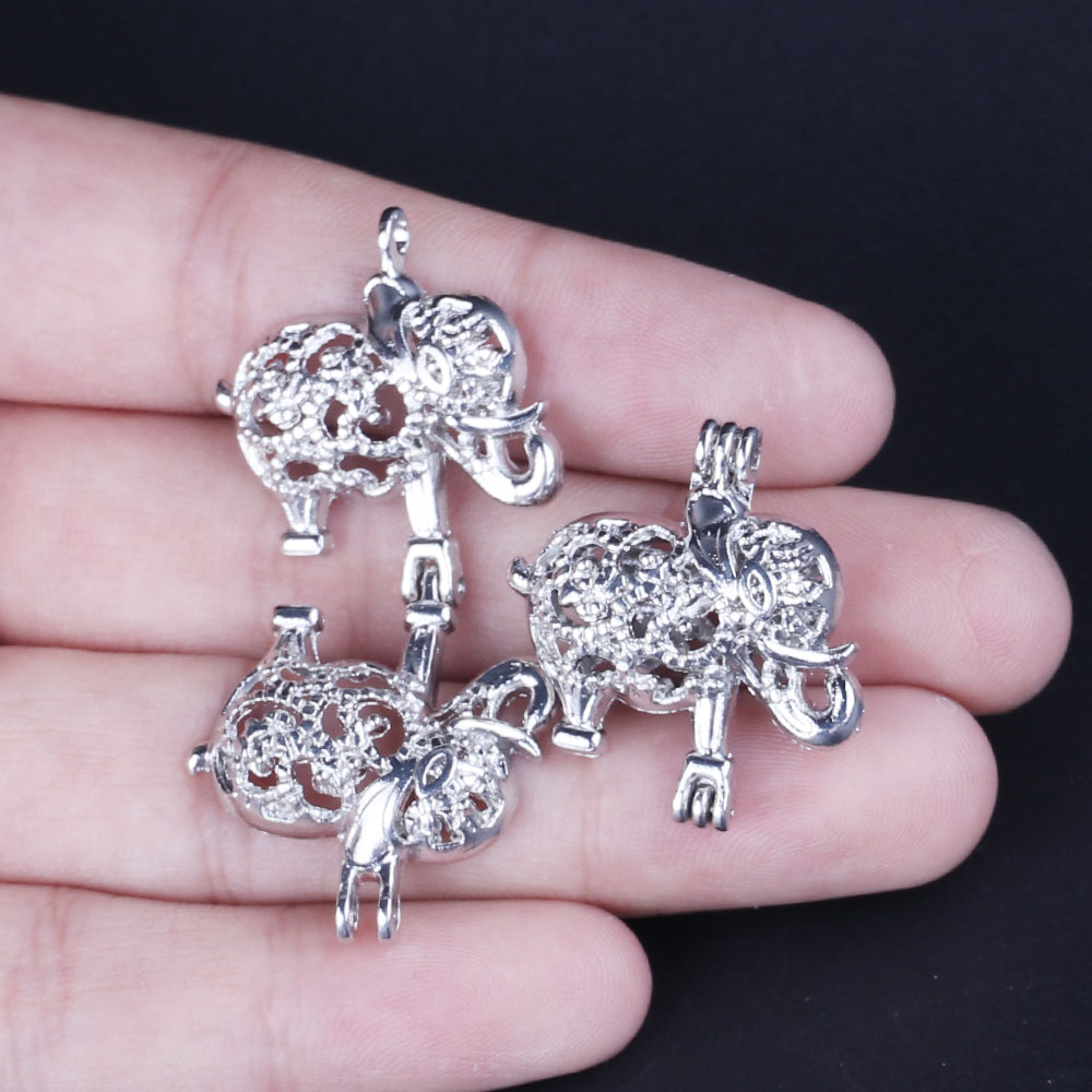 10pcs Silver Asian Elephant Pearl Cage Jewelry Making Supplies Bead Cage Pendant Essential Oil Diffuser For Pearl Jewellry