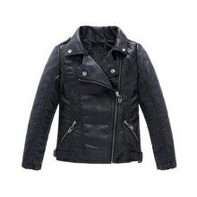 Куртка из искусственной кожи для мальчиков и девочек; коллекция года; Лидер продаж; Осенняя однотонная Повседневная Верхняя одежда; кожаная одежда; детская куртка; Подростковые куртки; От 3 до 14 лет
