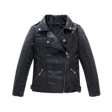 Girls PU Leather Jacket For Boys 2018 Hot Autumn Solid Casual Outerwear Leather Clothing Children Jacket Teenagers Coats 3-14Y