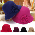 Hot Vogue Ladies Women Vintage Imitation Wool Rose Flower Felt Fedora Hat Fall Winter Cloche Bucket Cap Dome 6 Color