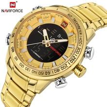 Luxo Marca NAVIFORCE Militar Homens de Aço Completa Relógios de Quartzo Analógico dos homens LED Relógio Homem Esporte relógio De Pulso Relogios Masculino