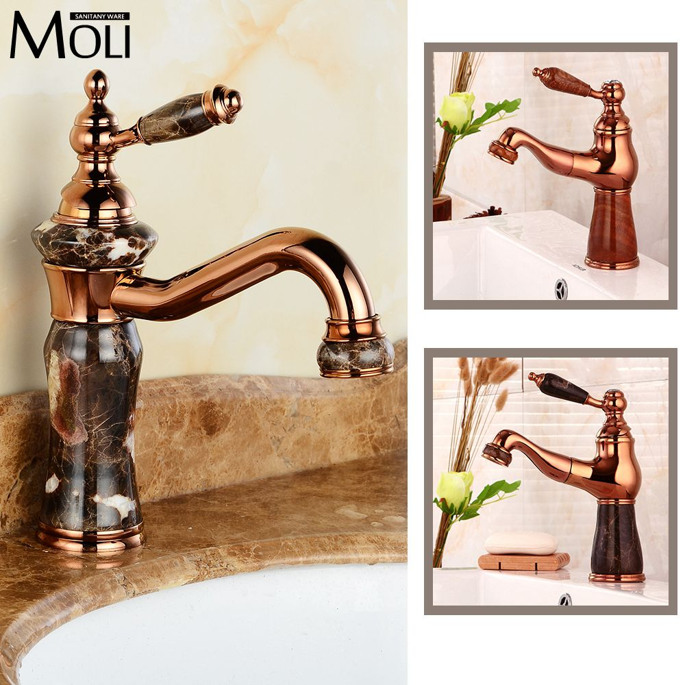 ФОТО Europe pull out spout copper rose golden bathroom faucet gold faucets with stone deck mount marble basin mixer tap