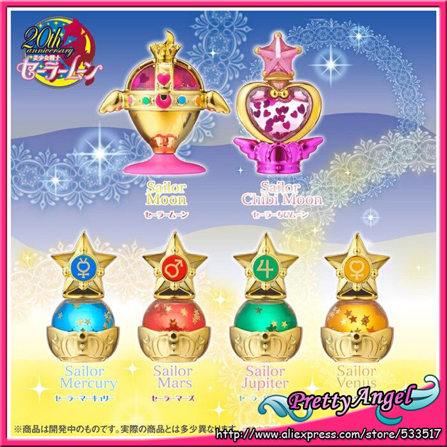 Original Bandai Sailor Moon 20-årsjubileum Gashapon Bishoujo Senshi Sailor Moon Prisma Power Dome Mini Siffror - Set med 6 PCS