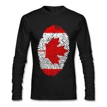 Canada Flag Fingerprint T-shirt Men Man's Geek Long Sleeve Cotton Custom Plus Size Base Couple T Shirts