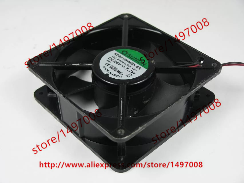 ФОТО  SUNON KD2412AMBX-6A (2).B2246.GN.121 DC 24V 7.2W 2-wire 2-pin connector 120X120X38mm Server Cooling Fan