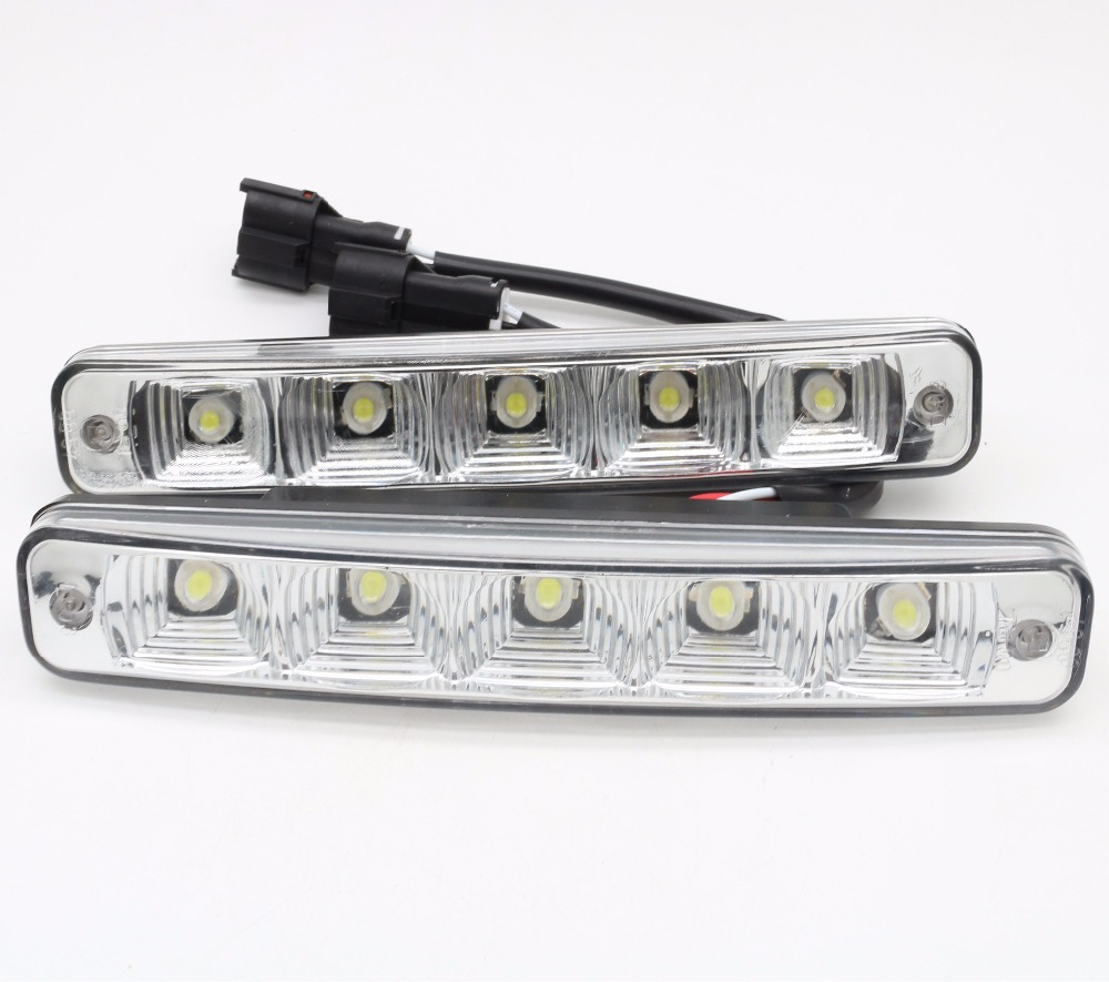 2pcs 12V 10W super bright 5 LED E4 aluminum shell 100% waterproof DRL LED car daytime running <font><b>light</b></font> E4 image
