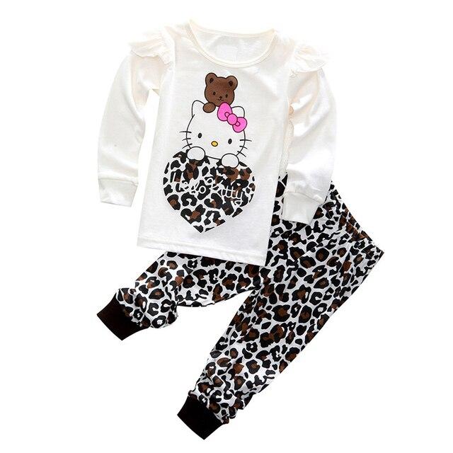 0bd4702e1c5d Children Spring Autumn long Sleeve Clothing Set Hello Kitty Cartoon ...