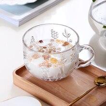 Рельефная объемная кружка прозрачные чашки с ручкой для завтрака креативная плотная стеклянная кружка для молока, воды, кофе