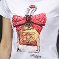 Новый 2015 лето симпатичные топы с коротким рукавом женские футболки алмаз хлопок футболка белый о-образным вырезом случайные футболки женщин camisetas mujer
