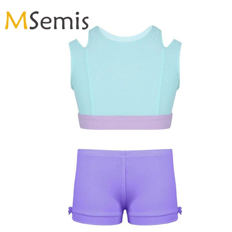 MSemis Kids Girls Black Stretch Short Sleeves Hallow Out Dance Crop Tops Ballet Dance Gymnastics Active Tops T-Shirt