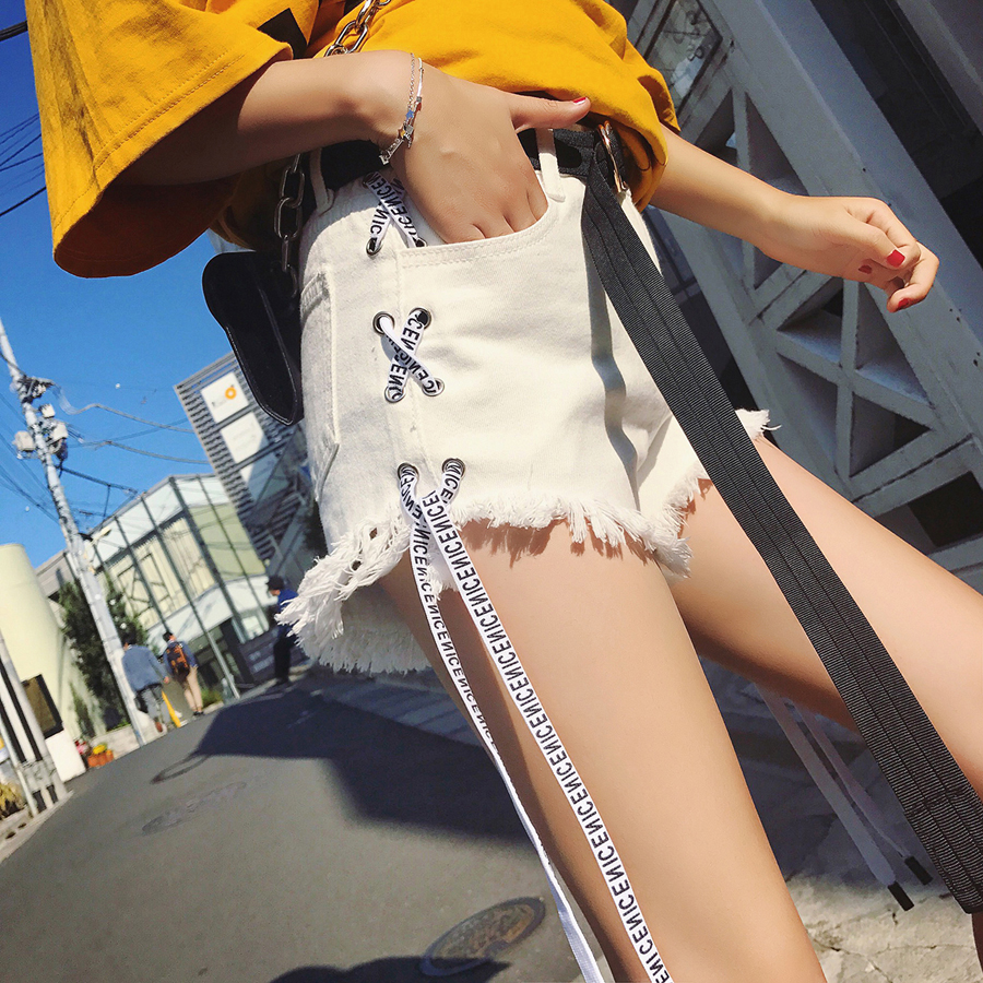 Denim High Waist   Shorts   Women Ribbon Jeans Streetwear Hip Hop Mini   Shorts   Sexy   Short   Pants Korean Style Women   Shorts   Summer 5F92