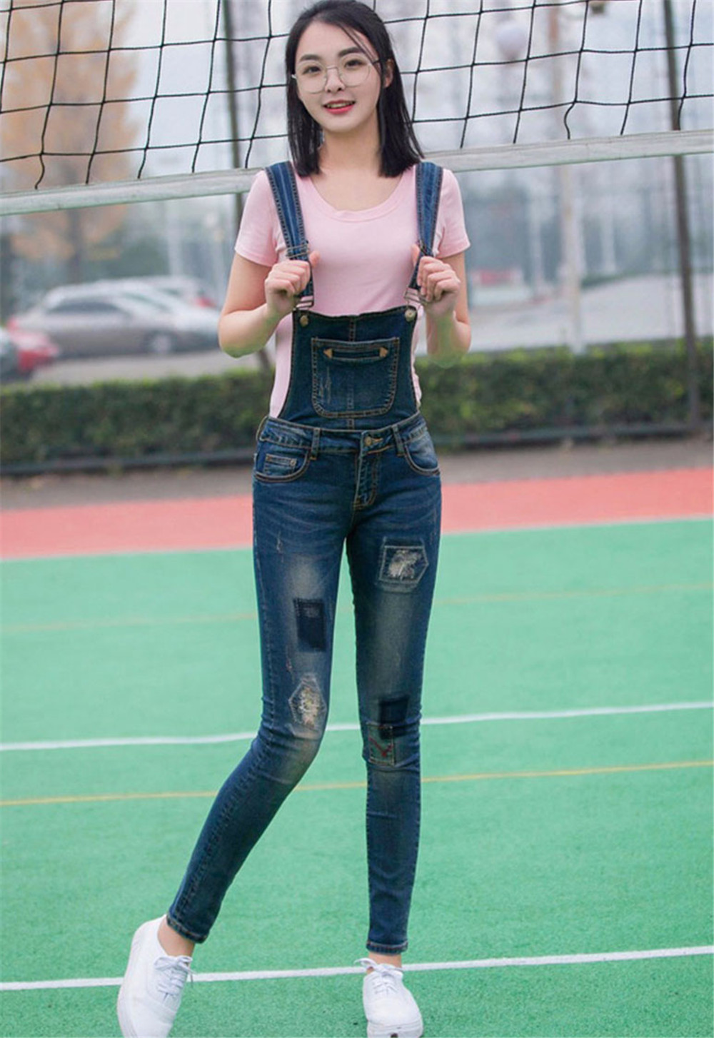 Women Stonewash Destroyed Denim Jeans Ripped Hole Jumpsuit Denim Overalls Pants Sexy Slim Casual Skinny Girls Rompers for Ladies denim overalls male suspenders front pockets men s ripped jeans casual hole blue bib jeans boyfriend jeans jumpsuit or04