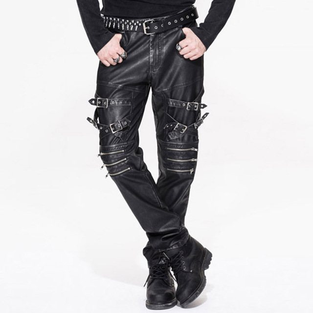 3b9f5df8e3fc Punk Rock Leather Men s Trousers Gothic Pantalon Homme 2017 Casual Brand  Clothing Straight Mens Pants With Pockets
