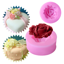 1PC Silicone Chocolate Soap Mold Cake Stencils 3D Rose Flower Shape Mould Kitchen Pastry DIY Tools Baking Pan Easy Demoulding