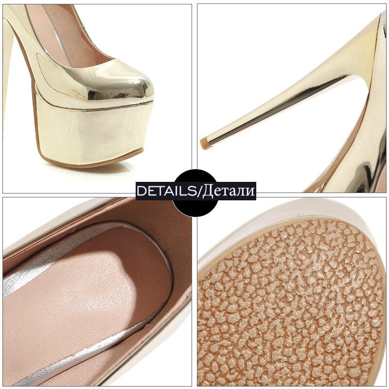 WETKISS talon aiguille pompes hautes femmes bout rond chaussures parti plate-forme chaussures femme miroir chaussures en polyuréthane femme grande taille 33-48 - 5