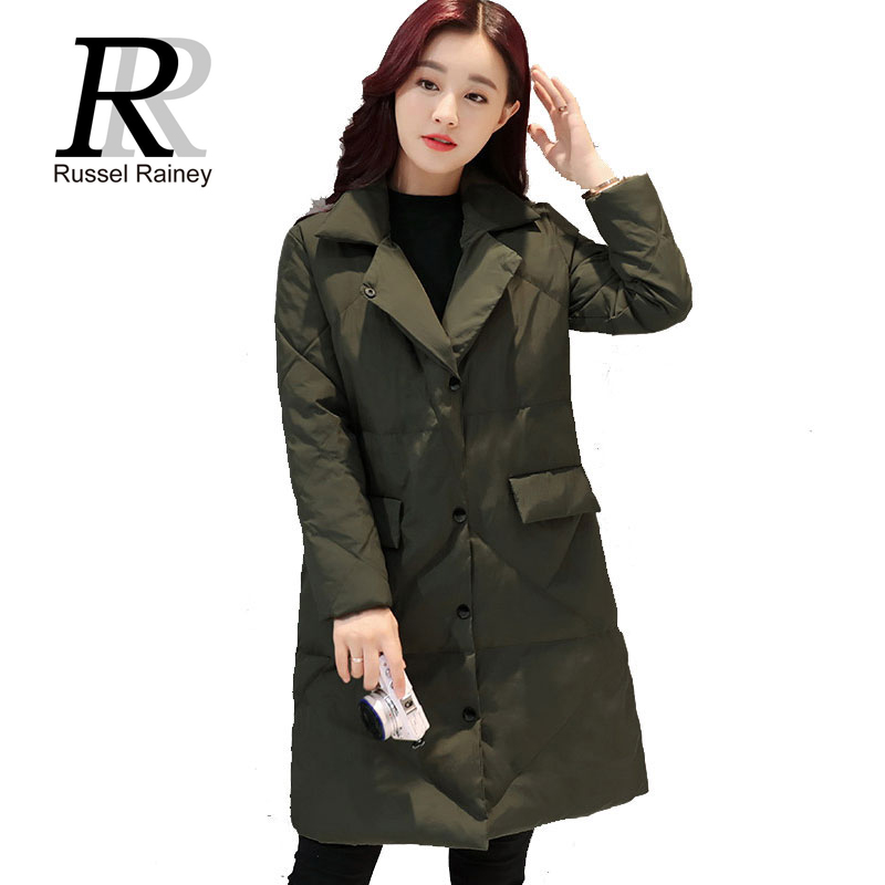 RR Fashion Women Winter Medium-Long Coats Outerwears New Arrival Solid Slim Thin Parkas Lady Down Cotton-padded Jackets Coats