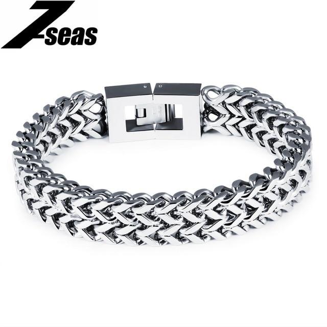 Rock Punk Stainless Steel Men Bracelet 12mm Width Link Chain Friendship Bracelets Jewelry Pulseira Masculina