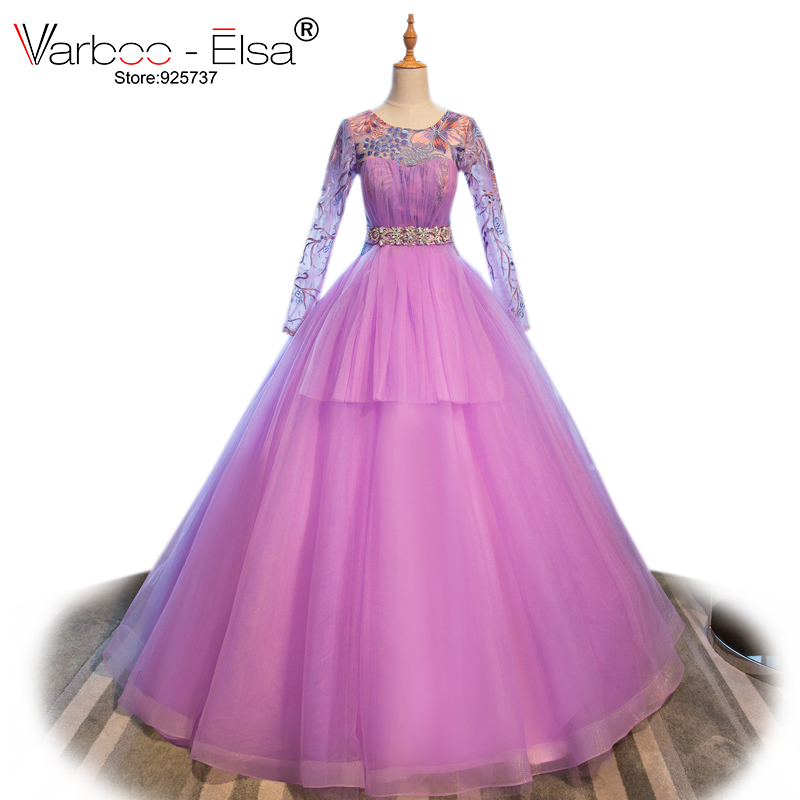 VARBOO_ELSA 2018 New Arrive Tulle Evening Dress Elegant Purple Embroidery Long Prom Dress Crystal Belt Party Dress vestido festa