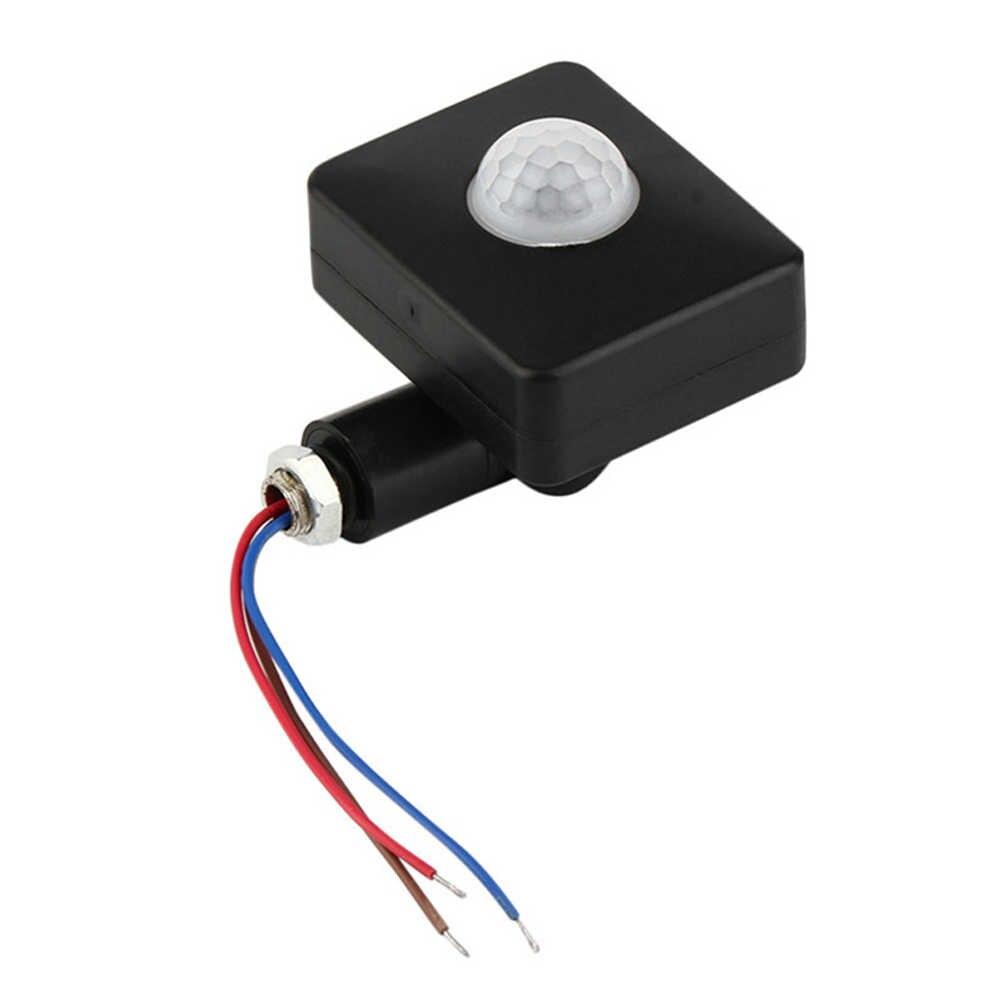 Tự Động Ngoài Trời Cảm Biến Chuyển Động Báo Bền An Ninh Mini Prtical Công Tắc LED 85-265V Hồng Ngoại PIR ABS Dao nhà