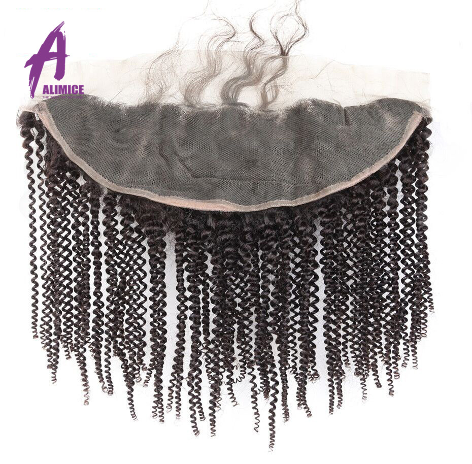Alimice Hair Indian Kinky Curly Human Hair Lace Frontal Closure 134 With Baby Hair 100% NonRemy Human Hair Closure 10-24 inch (1)