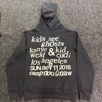 2019 Best Quality Kanye West & Kids See Ghosts Letter Printed Women Men Hoodies Sweatshirts Hiphop Men Cotton Hoodie Pullover