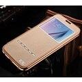 Luxo KXX Subiu Moldura de Ouro + Vista Da Janela Da Aleta do Couro Genuíno tampa do caso do telefone móvel original para samsung galaxy s6/edge/plus