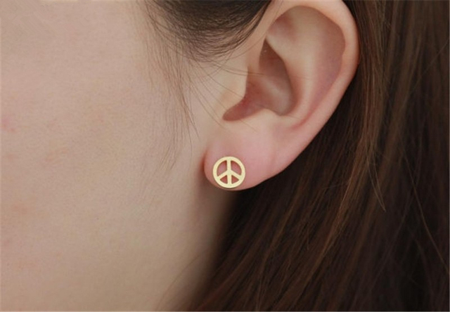 Anti War Gold Color Peace Sign Earrings For Women Jewelry Stainless Steel Kolczyki Peaceful Symbol