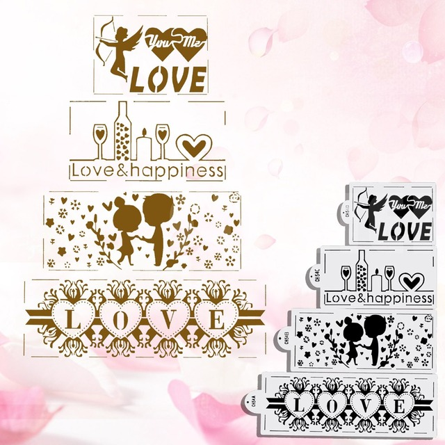 4pcs Set Wedding Decoration Cake Stencil Kitchen Accessories Border Baking Stencils