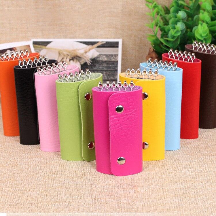 Fashion New Keys Holder Bag Wholesale Promotion Quality Pu Leather Solid Color Buckle Key Wallets For Men Women #04