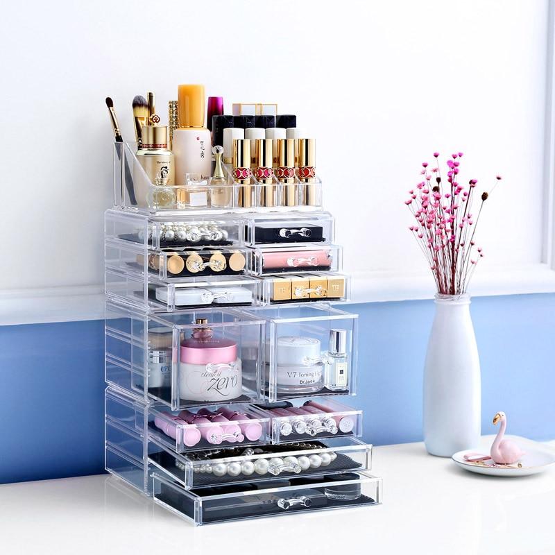 Cosmetic Holder Big size transparent box Fashion cosmetics drawer Fashion Acrylic Cotton Swab Organizer Box L51